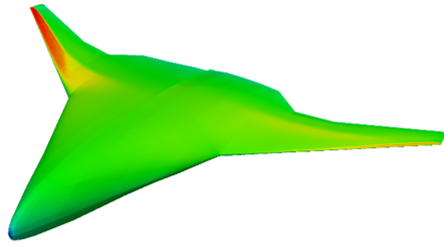 Wave drag reduction on a flying wing for transonic cruise, Mach number 0.80, CL = 0.5